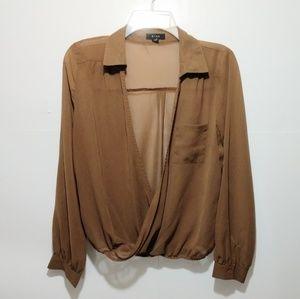 MIne wrap top blouse m brown long sleeve Anthropol